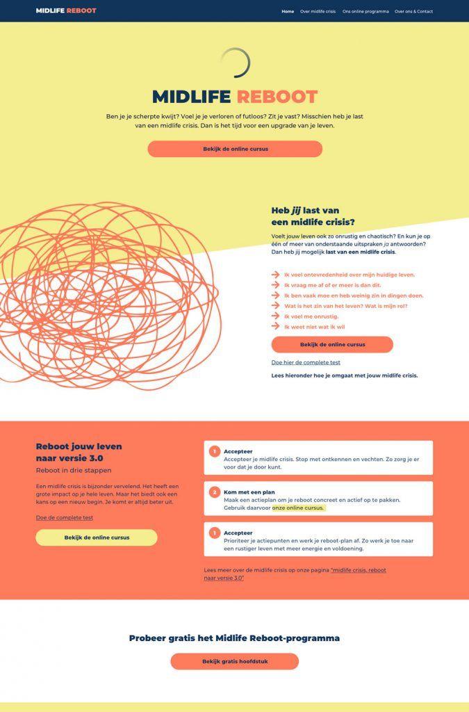 Afbeelding van een homepage ontwerp voor Midlife Reboot