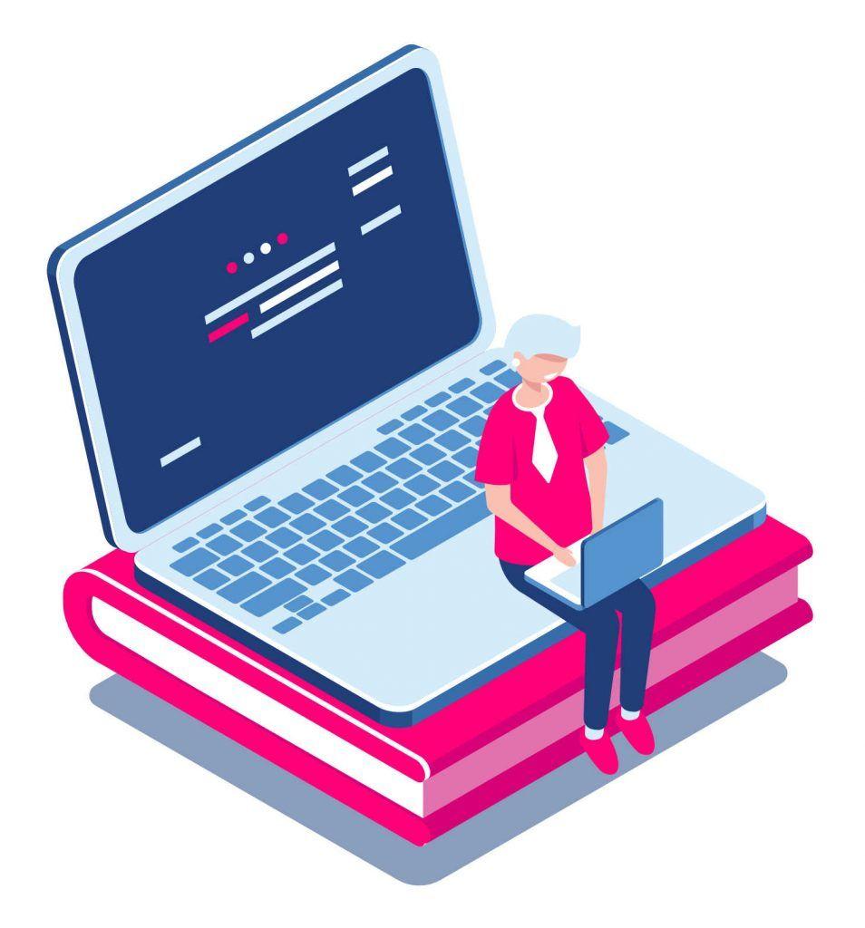 Afbeelding van een dame die op een laptop zit met een online leeromgeving