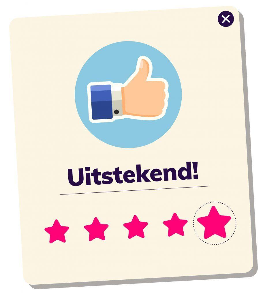 Afbeelding van een review score kaart met vijf sterren en een duim omhoog