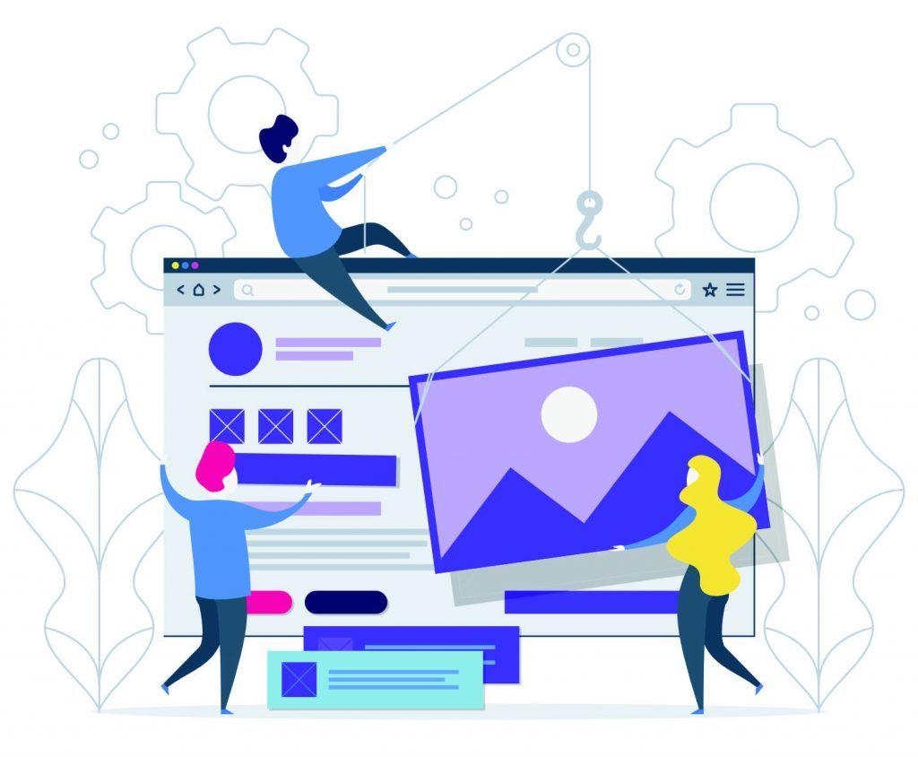 Afbeelding van drie poppetjes die een website bouwen