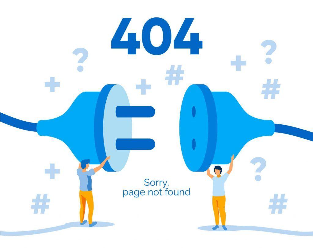 Tekening dat 404 meldingen uitbeeld