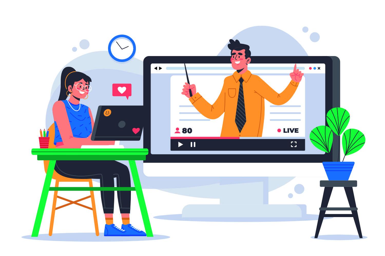Afbeelding van een dame achter een laptop en een scherm waarop een man lesgeeft als illustratie van e-learning en online leeromgevingen